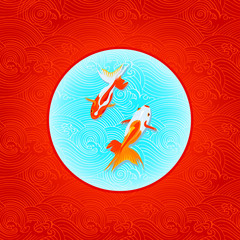Pair of golfishes over inverted Japanese flag in waves