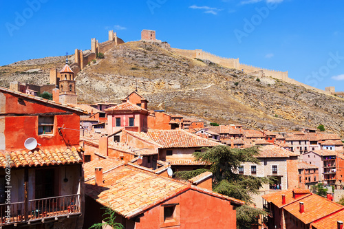City wall of Albarracin on  summer day