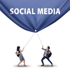 Students pulling social media banner