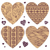Vector set of hearts with ornaments