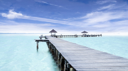 Paradise. Vacations And Tourism Concept. Tropical Resort. Jetty