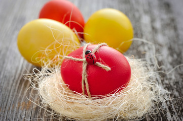 Easter eggs on a old wooden background