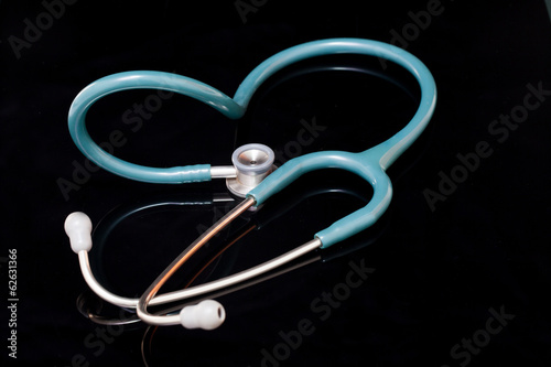 Stethoscope isolated on black background.