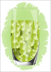 green grape juice vector illustration isolated on white