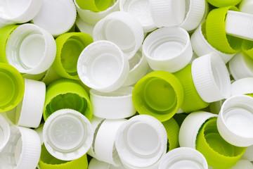 White & green plastic bottole caps