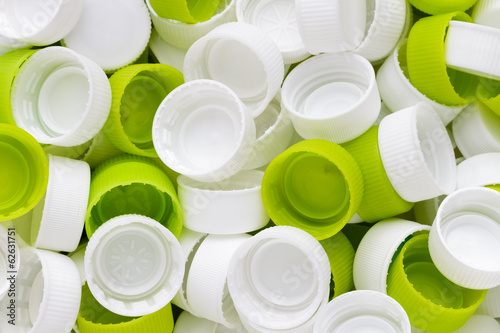 White & green plastic bottole caps