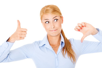 Confused woman with thumbs up and down