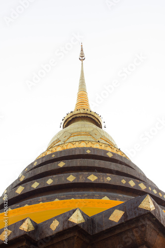 Gold pagoda in Buddhism isolate