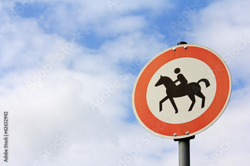Traffic sign : Horse riding is prohibited