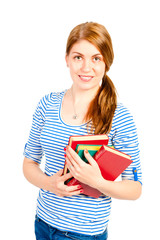 Portrait of a young student with the literature