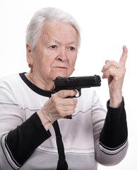 Old woman with pistol