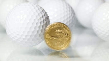 Rotating U.S.dollar and white golf balls