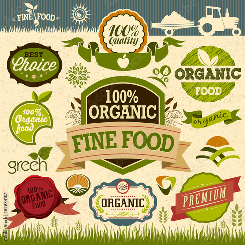 Set of Fresh Organic natural food Labels