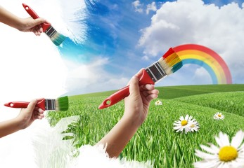 Painting a Meadow and Rainbow