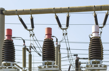 Detail view of big electric coils for energy distribution