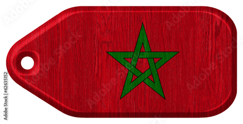morocco flag painted on wooden tag