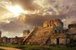 Leinwandbild Motiv Castillo fortress at sunrise in the ancient Mayan city of Tulum,