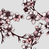 Seamless pattern with hand drawn blooming fruit tree twig.
