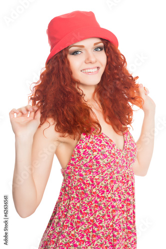 Portrait smiling girl with red hair
