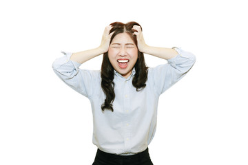 stress asian woman  in white background