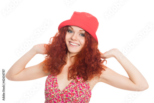 Smiling young woman with red hair