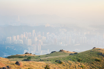 Hong Kong air pollution as seen from the Kowloon hills