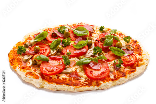 Plexiglas Restaurant Pizza on white background