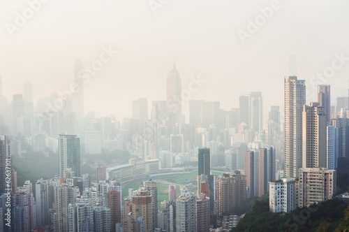 Poster, Tablou Air pollution hangs over Hong Kong Island