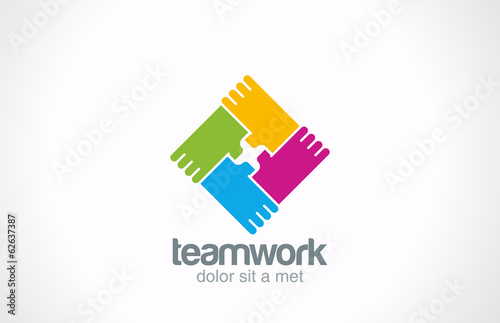 Team holding hands vector logo. Corporate social icon