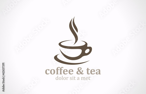 Coffee Tea Cup logo vector design. Cafe emblem icon - 62637391