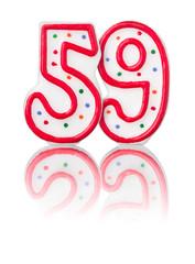 Rote Nummer 59 mit Reflexion