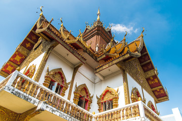 Architectural elements of  Wat Buppharam temple  in Chiang Mai