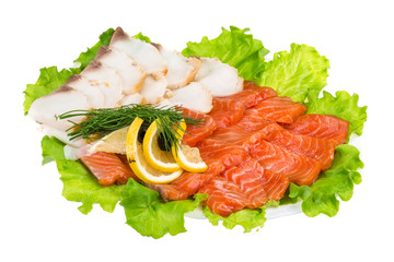 Sliced trout and sturgeon