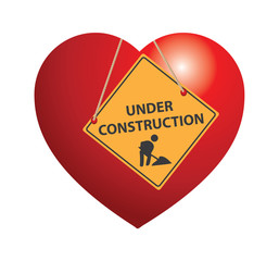 Under construction heart sign