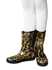 Fashionable women's rubber boots leopard