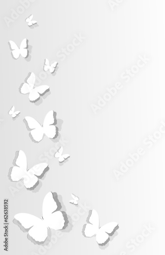 flitting butterflies cut out on paper. Illustration, vector