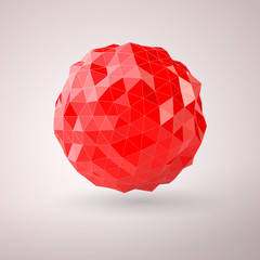 Abstract red sphere consisting of triangles vector