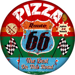 vintage route 66  pizza sign, retro style, vector