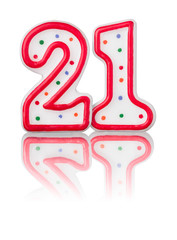 Rote Nummer 21 mit Reflexion