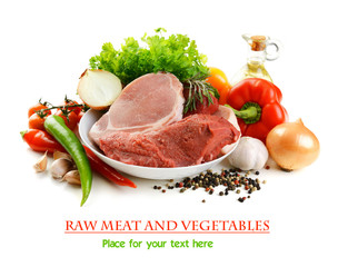 raw meat and vegetables