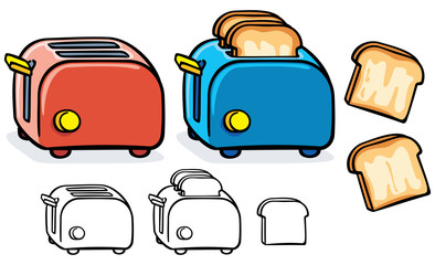 blue and red toasters with black and white variant