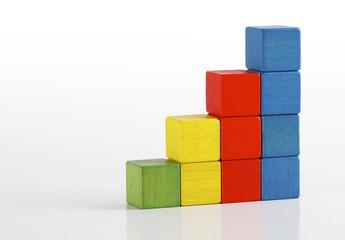 Toys blocks as step stair, multicolor wooden ladder bricks