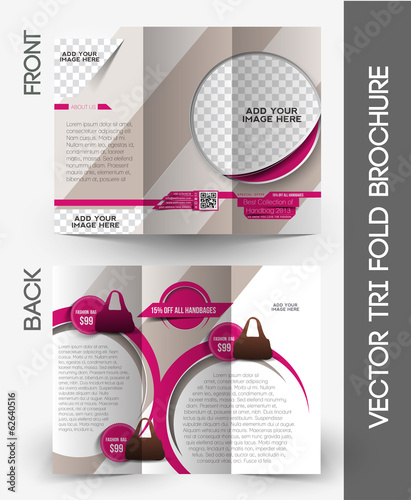 Fashion Shopping Store Tri-Fold Mock up & Brochure Design