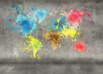 world map made of paint splashes on concrete wall background