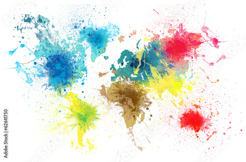 world map with paint splashes - 62641750