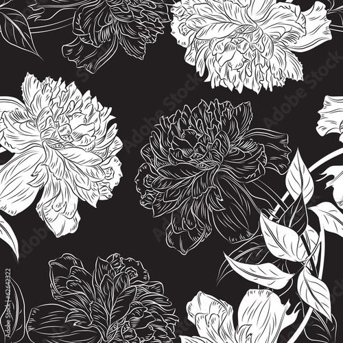 Monochrome seamless background hand drawn peony flower.Vector