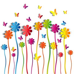 Abstract paper Flowers background - paper butterflies - spring t