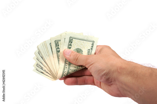 hand with dollar bills on a white background