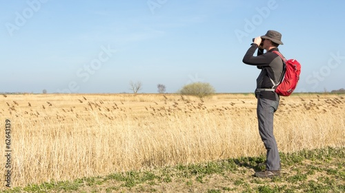 Male hiker viewing birds in wetland