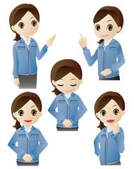 デフォルメシリーズ「作業服の女性」